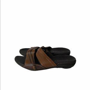 Merrell Brown Leather Slip On Sandals 7